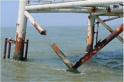 "Corrosion at the splash area of an offshore turbine. Source: ""Inspection Guidance for Offshore Wind Turbine Facilities"""